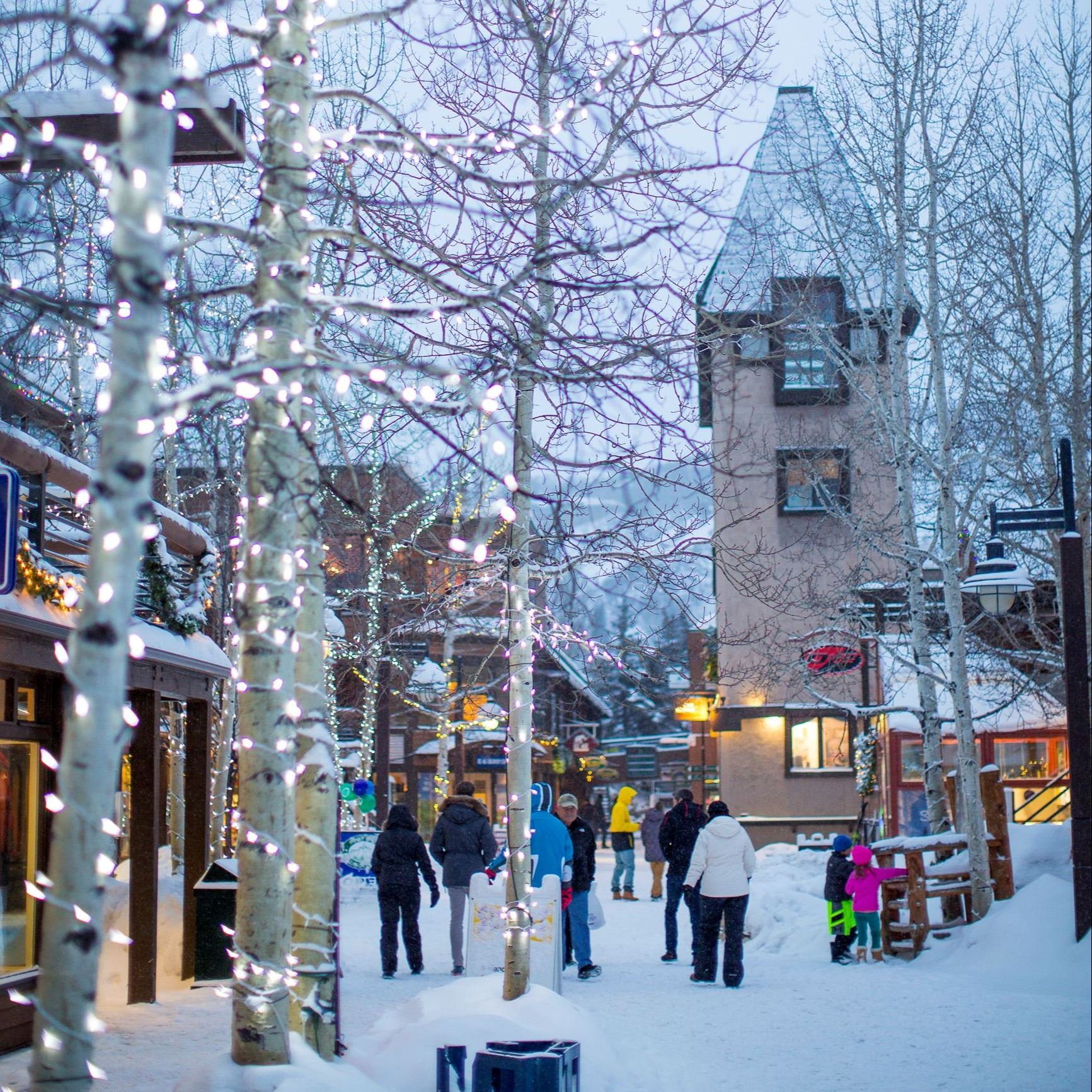 snowmass mall in the winter, with snow on ground